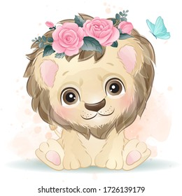 Cute lion with watercolor effect