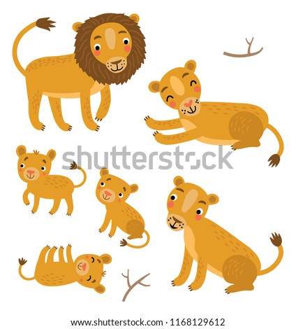 Cute Lions Family vector set