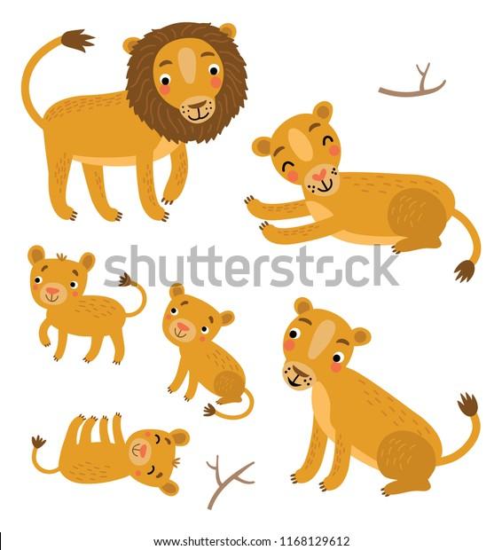 Cute Lions Family vector set