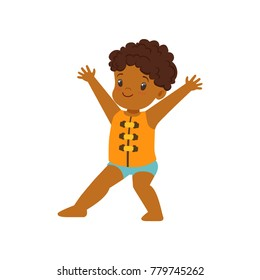 Cute little african american boy wearing life safety jacket, kid playing at the beach, happy infants outdoor activity on summer vacations vector Illustration