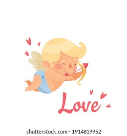 Cute little angel boy with letteiring. Valentines Day card. Vector illustration
