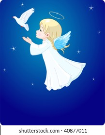 Cute little angel with dove -  place card.
