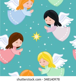 Cute little angels flying in the sky.Seamless background.Vector illustration.