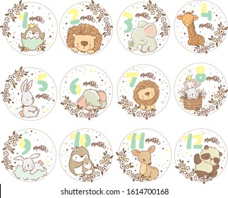Cute little animals/ big set with kids  labels