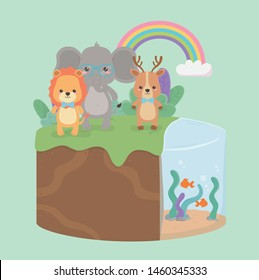 cute and little animals in the field characters