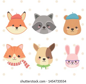 cute and little animals group characters