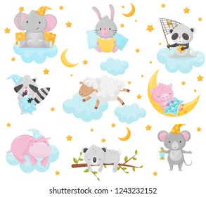 Cute little animals sleeping under a starry sky set, lovely elephant, bunny, panda, raccoon, sheep, piglet, hippo sleeping on clouds, good night design element, sweet dreams vector Illustration