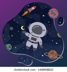 Cute little astronaut in space. Great design element for kids apparel, nursery decoration, patch, poster, t-shirt.  Hand drawn vector illustration.