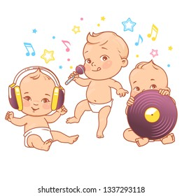 Cute little babies in diaper. Happy children listen music. Girls and boys in headphones, hold microphone, vinyl. Children sit, stand, dance, sing.Colorful vector illustration isolated.