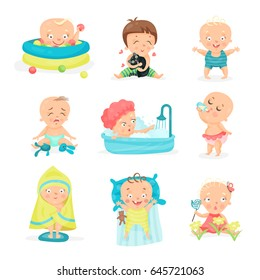 Cute little babies in different situations set. Happy smiling little boys and girls vector illustrations
