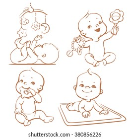 Cute little babies with different toys. First year games. Baby hold teething toy, lay on developing play mat, baby and mobile toy. Sketchy monochrome vector Illustration isolated on white background
