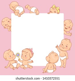a488df4d2 Cute little babies near blank text frame. Happy children in diapers stand,  sit,