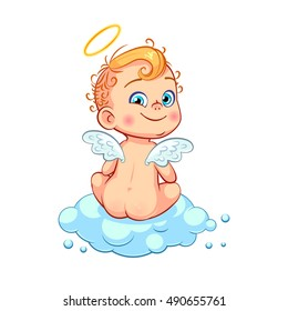 Cute little baby angel sitting back on a cloud. Kids character isolated on white background.
