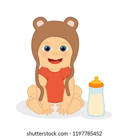 Cute little baby with bear hat, funny cartoon character, vector isolated illustration.