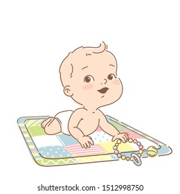 Cute little baby boy of 3-12 months, in diaper, lies on development mat with toys. Cute smiling toddler play toys, learn colors. Happy kid. Tummy time. First year activity. Color vector illustration.