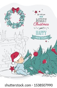 Cute little baby boy sitting on floor in beautifully decorated living room in Santa Claus hat near fallen Christmas tree. Vector cartoon illustration