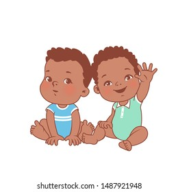 Cute little baby boys sitting on white background. Logo template for baby product. African american twin babies. Dark skin kids. Brothers.Twins of 6-12 months. Color vector illustration.