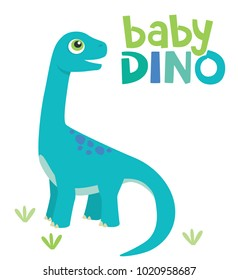 Cute Little Baby Brontosaurus Dinosaur with Baby Dino Text Isolated on White Background Vector Illustration