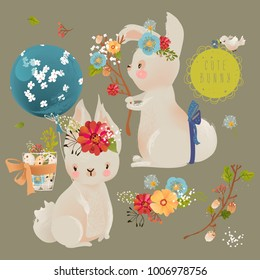 Cute little baby bunnies, rabbits with floral wreath, tied bows, balloons, bird, basket with eggs and forest branch with flowers
