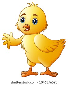 Cute little baby chick waving isolated on a white background