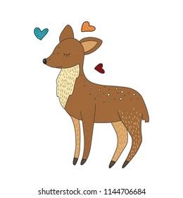 Cute little baby deer. Cartoon hand drawn card. Bambi vector illustration.