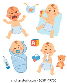 Cute little baby in diaper with different emotions set. Crying, sucks his thumb and plays, sleeping  in a diaper, drinking milk from a bottle. Bib, baby cube, thermometer, pacifier, toy bear