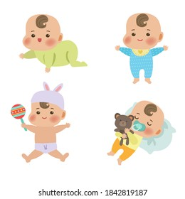 Cute little baby in different situations. Baby shows different emotions. Newborn boy or girl. Baby vector illustration.
