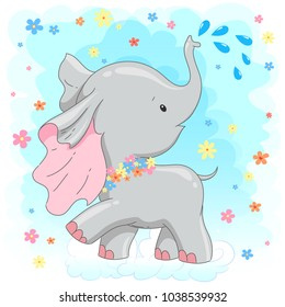 Cute little baby elephant. Can be used for children's posters, cards,  baby t-shirt and bags  print. Animal illustration