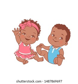 Cute little baby girl and boy sitting on white background. Logo template for baby product. African american twin babies. Dark skin kids. Twins of 6-12 months. Color vector illustration.