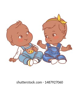 Cute little baby girl and boy sitting on white background, wearing jeans. Denim baby fashion.  African american twin babies. Dark skin kids. Twins of 6-12 months. Color vector illustration.