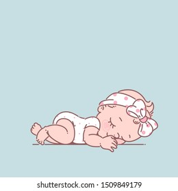 Cute little baby girl in white bodysuit. Newborn baby. Child of age from 0 months to 6 sleeping on stomach, move on his stomach. First year of child. Healthy baby sleep. Color vector illustration.