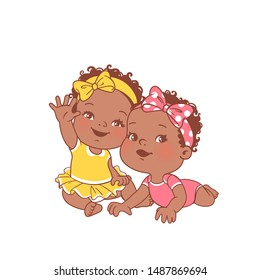 Cute little baby girls sitting on white background. Two girls. Logo template for baby product. African american twin babies. Sisters. Dark skin kids. Twins of 6-12 months. Color vector illustration.