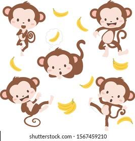 Cute Little Baby Monkeys Set