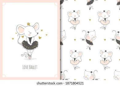 Cute little baby mouse ballerina dancer character. Mice card and seamless background pattern set. Hand drawn surface design vector illustration