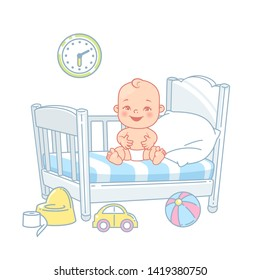 Cute little baby sit in bed. Pretty child in diaper awake. Healthy sleep. White bed, pillow and sheets. Happy baby smile. Toys near bed. Kid's room. Color vector illustration.
