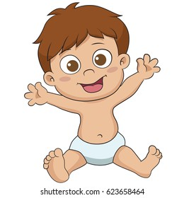 Cute little Baby sitting.vector and illustration.