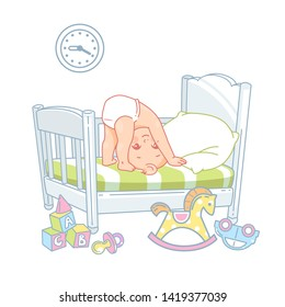 Cute little baby stand on head in bed. Pretty child in diaper don't sleep at night.  White bed, pillow and sheets. Active baby upside down.  toys near bed. Kid's room. Color vector illustration.