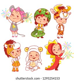 Cute little baby wear carnival costumes. Kindergarten masquerade. Preschool kids as animals. Mask of dragon,ox, mouse, snake, sheep, horse. Girls and boys play animals. Vector illustration.