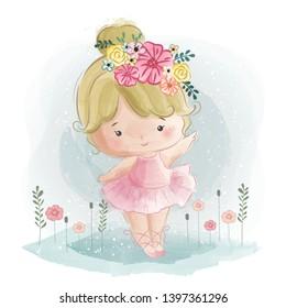 Cute Little Ballerina Dancing Happily