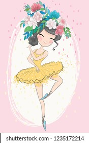 Cute little ballerina with flowers vector illustration for fashion artworks, children books, clip arts, t-shirt prints, greeting card graphics.
