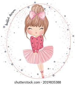 Cute little ballerina girl. Hand drawn vector illustration