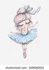 Cute little ballerina. Surface design for kids . Vector graphic for children fashion clothing. Use for print, fashion wear