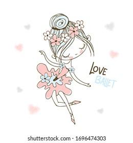 A cute little ballerina in a tutu is dancing. Vector.