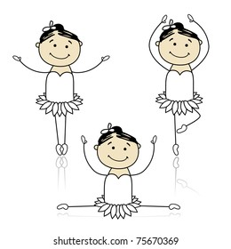 Cute little ballet dancers for your design