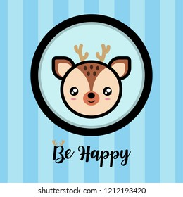 Cute little Bambi Vector with blue stripe Background, for card, background, template.