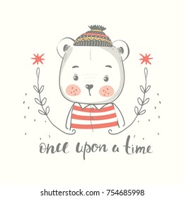 Cute little bear boy in hat cartoon hand drawn vector illustration. Can be used for baby t-shirt print, fashion print design, kids wear, baby shower celebration greeting and invitation card.
