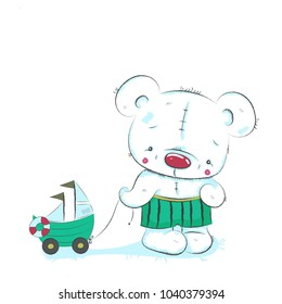 Cute little bear cartoon hand drawn vector illustration. Can be used for baby t-shirts printing, fashion print design, baby clothes, baby shower, holiday greeting and invitations.