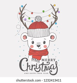 Cute little bear with deer horns, christmas garland, knitted cap, scarf. Christmas card. New Year. Season's Greetings. Vector illustration