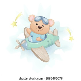 Cute little bear flying on plane. Adorable bear cartoon character. Stock vector illustration on white background