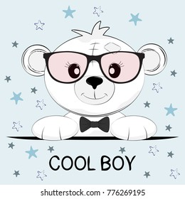 Cute little bear with glasses. Greeting card.  Illustration for print on t-shirt.